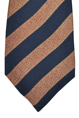 Luigi Monaco Elevenfold Tie Navy Maroon Gold Stripes