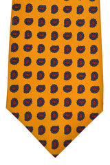 Luigi Monaco Elevenfold Tie Orange Navy Red Paisley