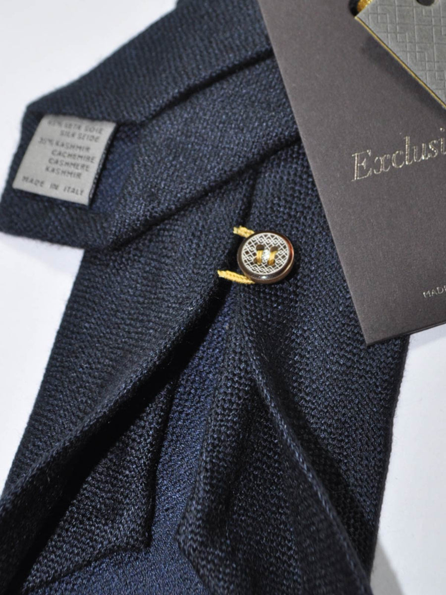 Canali Sevenfold Tie Dark Blue Gray Weave Design Cashmere Silk Tie - Exclusive Collection SALE