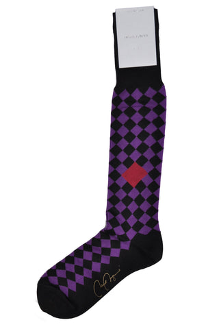 VK Nagrani Men Socks Purple Diamonds Over-The-Calf