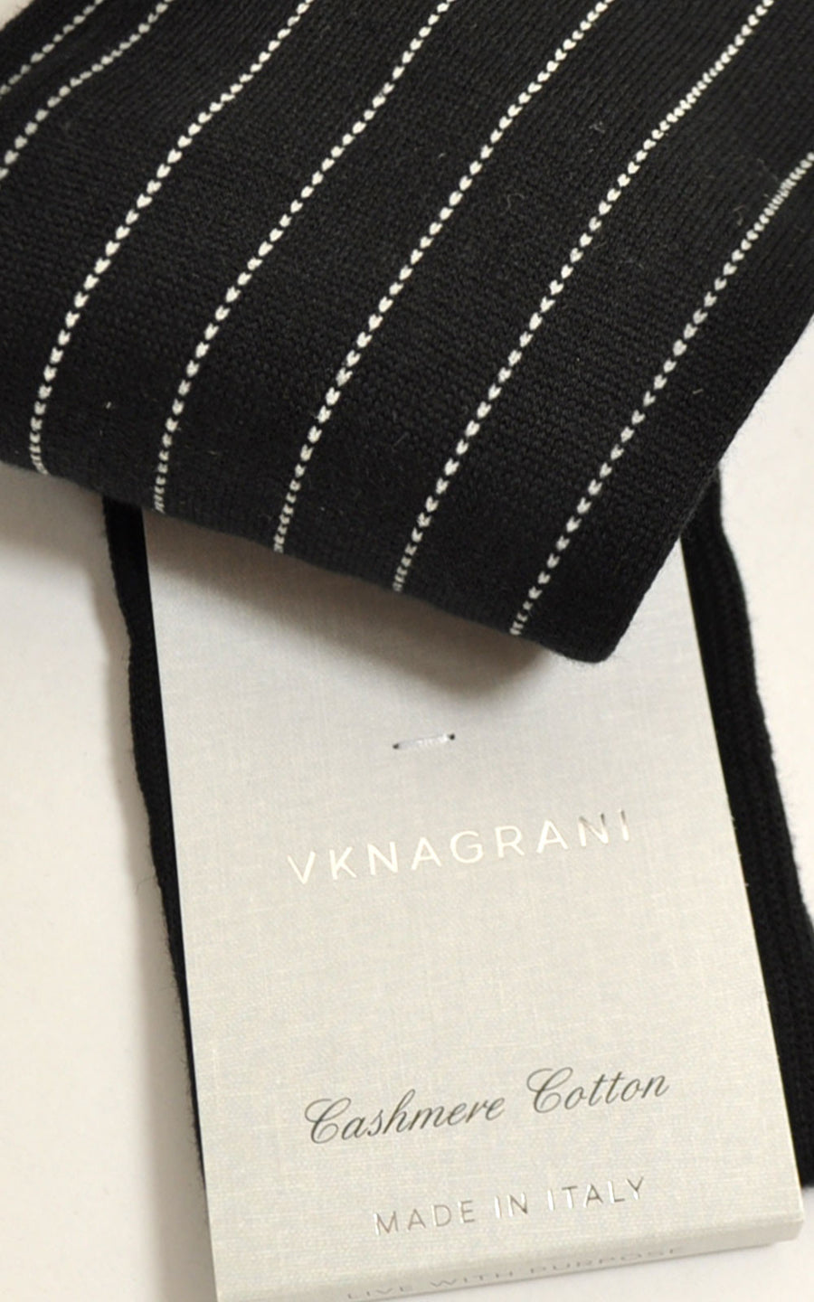 VK Nagrani Socks Cashmere Cotton Black Pinstripe
