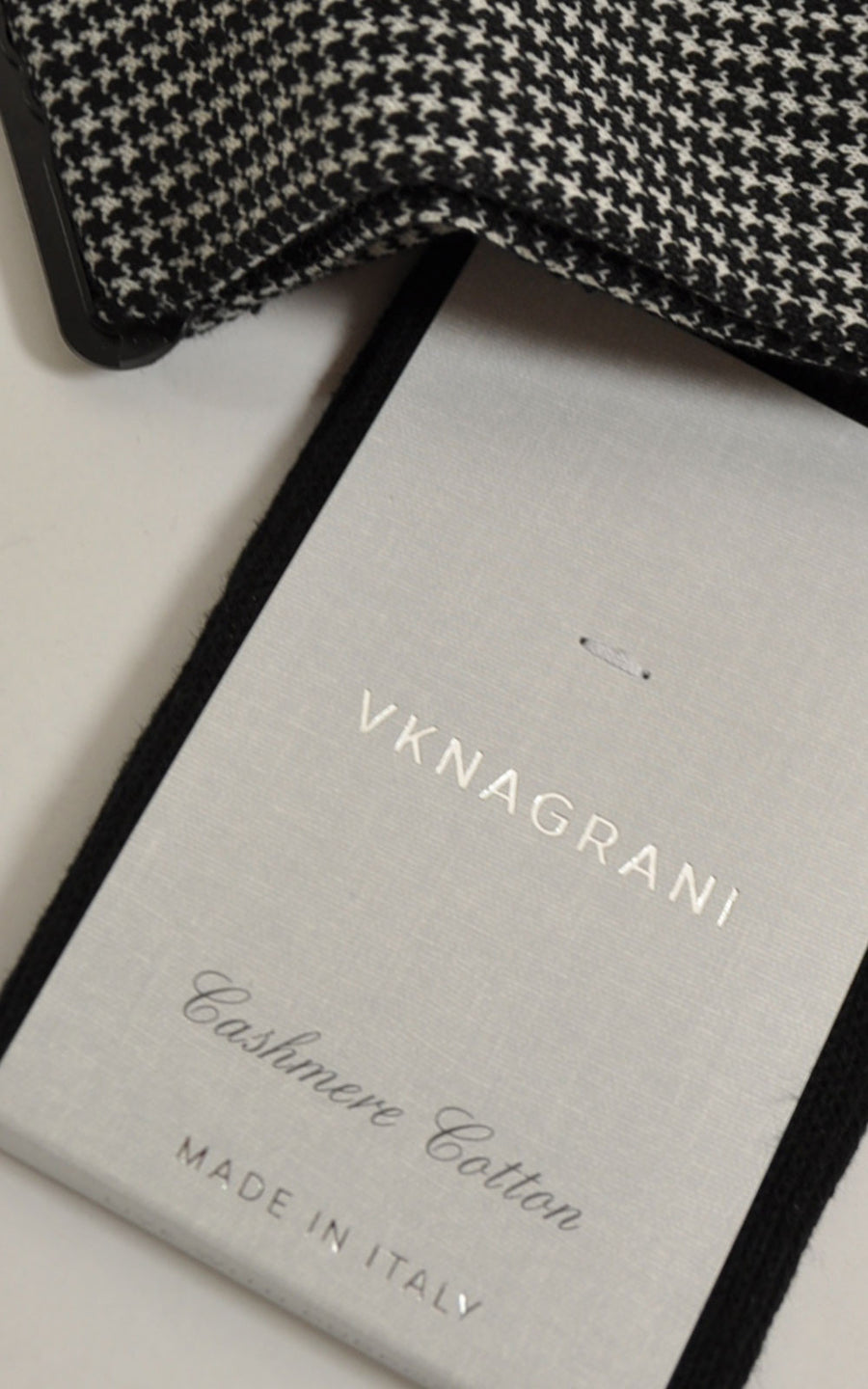 VK Nagrani Socks Cashmere Cotton Black Gray Houndstooth