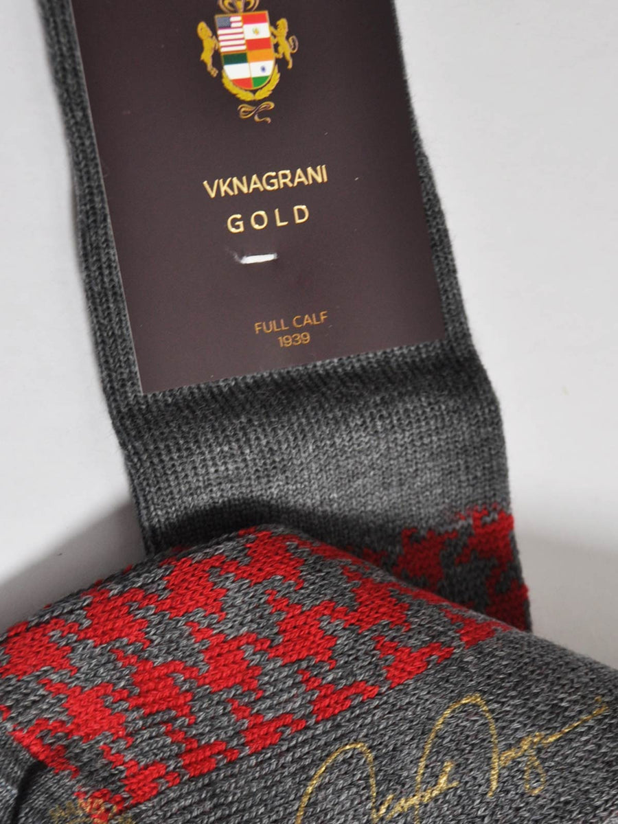 VK Nagrani Socks 1939 Houndstooth Gray Red