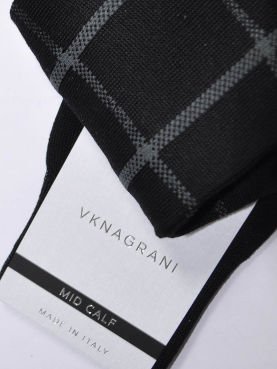 VK Nagrani Socks Black Gray Windowpane Design