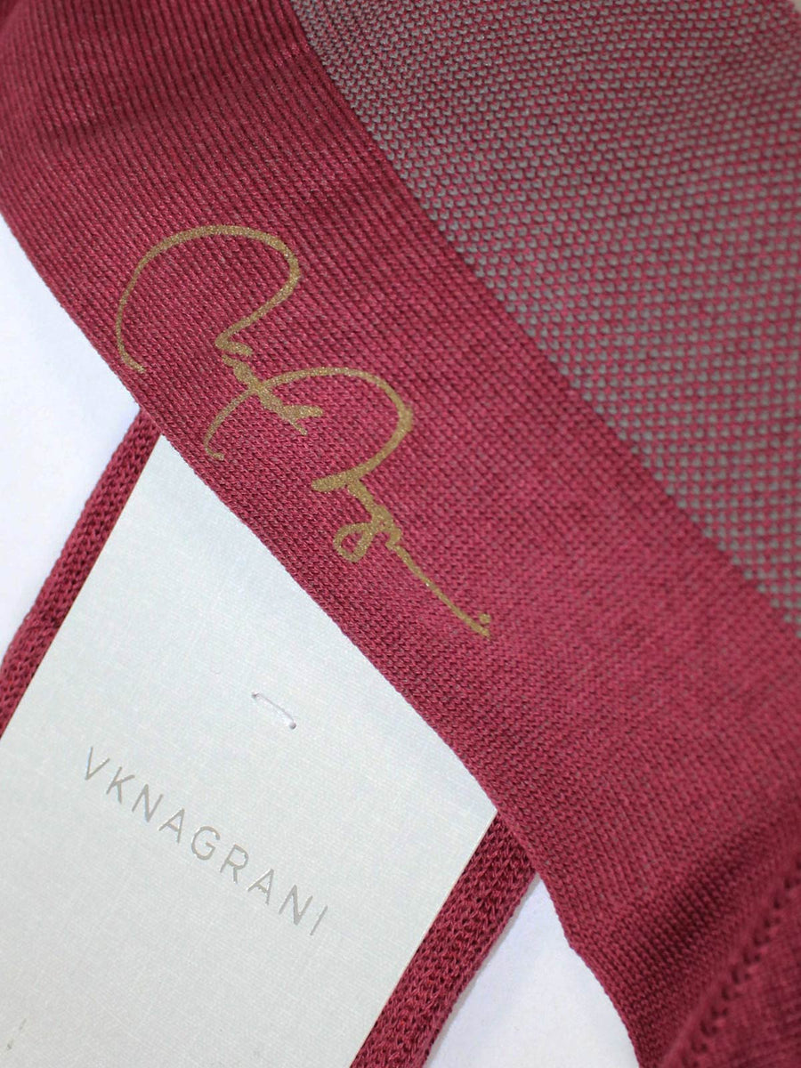 VK Nagrani Over The Calf Socks Bordeaux Red Birdseye