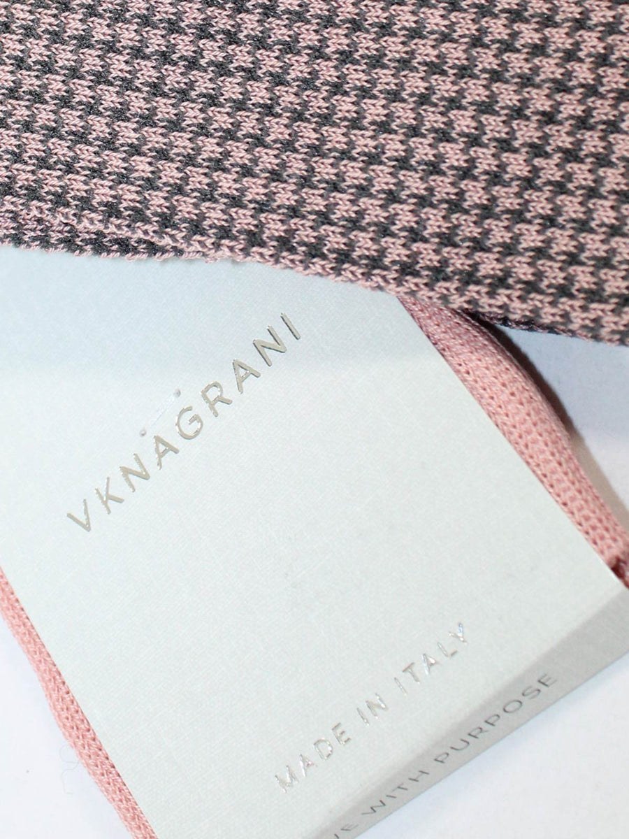 VK Nagrani Men Socks Pink Gray Mini Houndstooth - Over The Calf