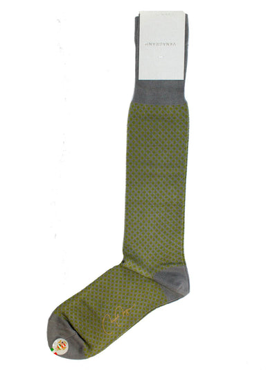 Men Socks Gray Green Design