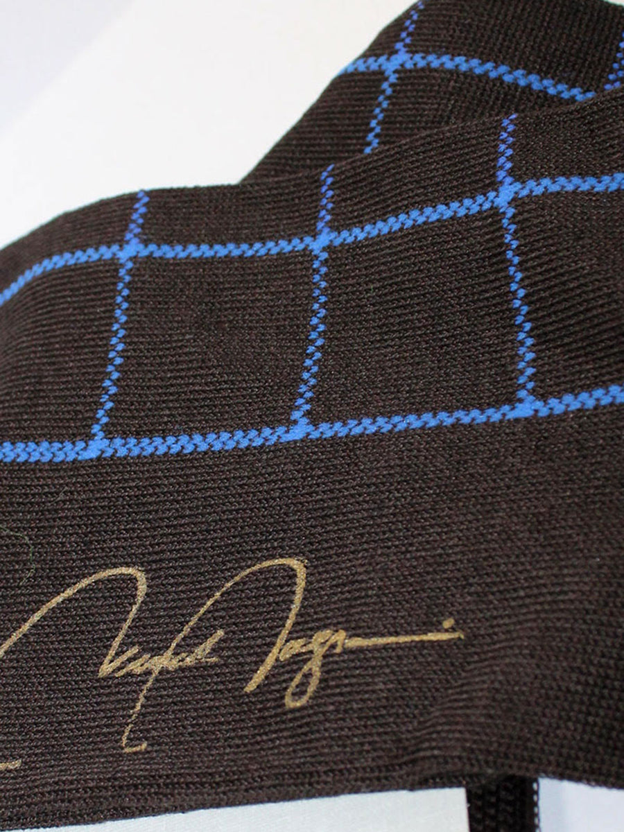 VK Nagrani Men Socks Black Blue Check - Over The Calf