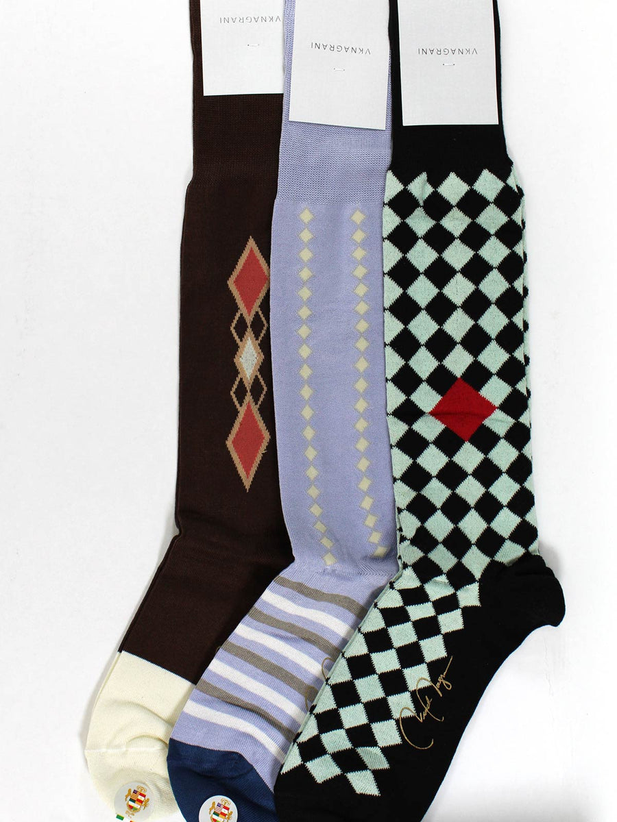 VK Nagrani Socks 3 Pair Colorful Gift Set Over-The-Calf