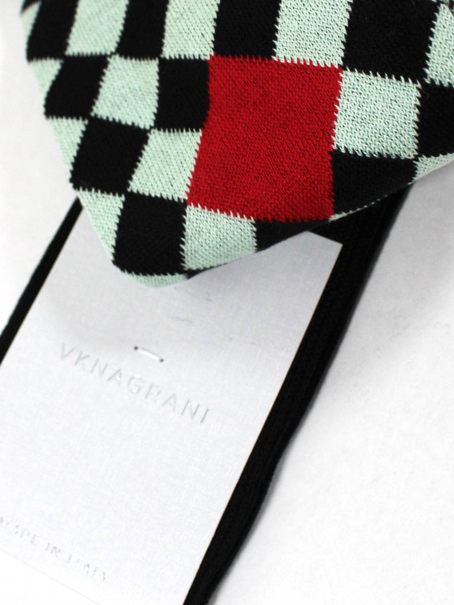 VK Nagrani Men Socks Mint Black Check Over The Calf