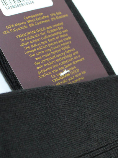 VK Nagrani Socks Black Wool Cashmere Silk VKNAGRANI GOLD 1939