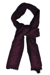 Pal Zileri Scarf Purple Black Wool Shawl FINAL SALE