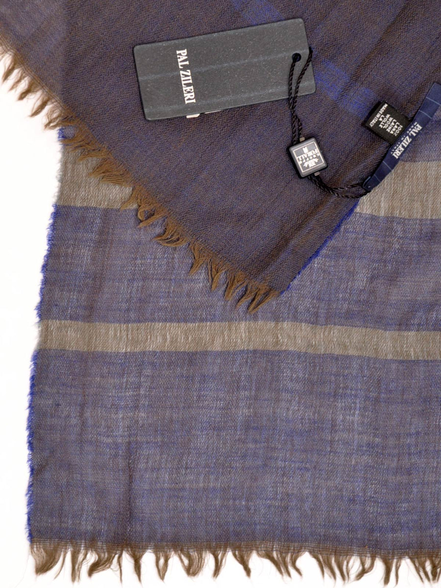 Pal Zileri Wool Scarf Lapis Blue Forest Green Stripes Shawl SALE