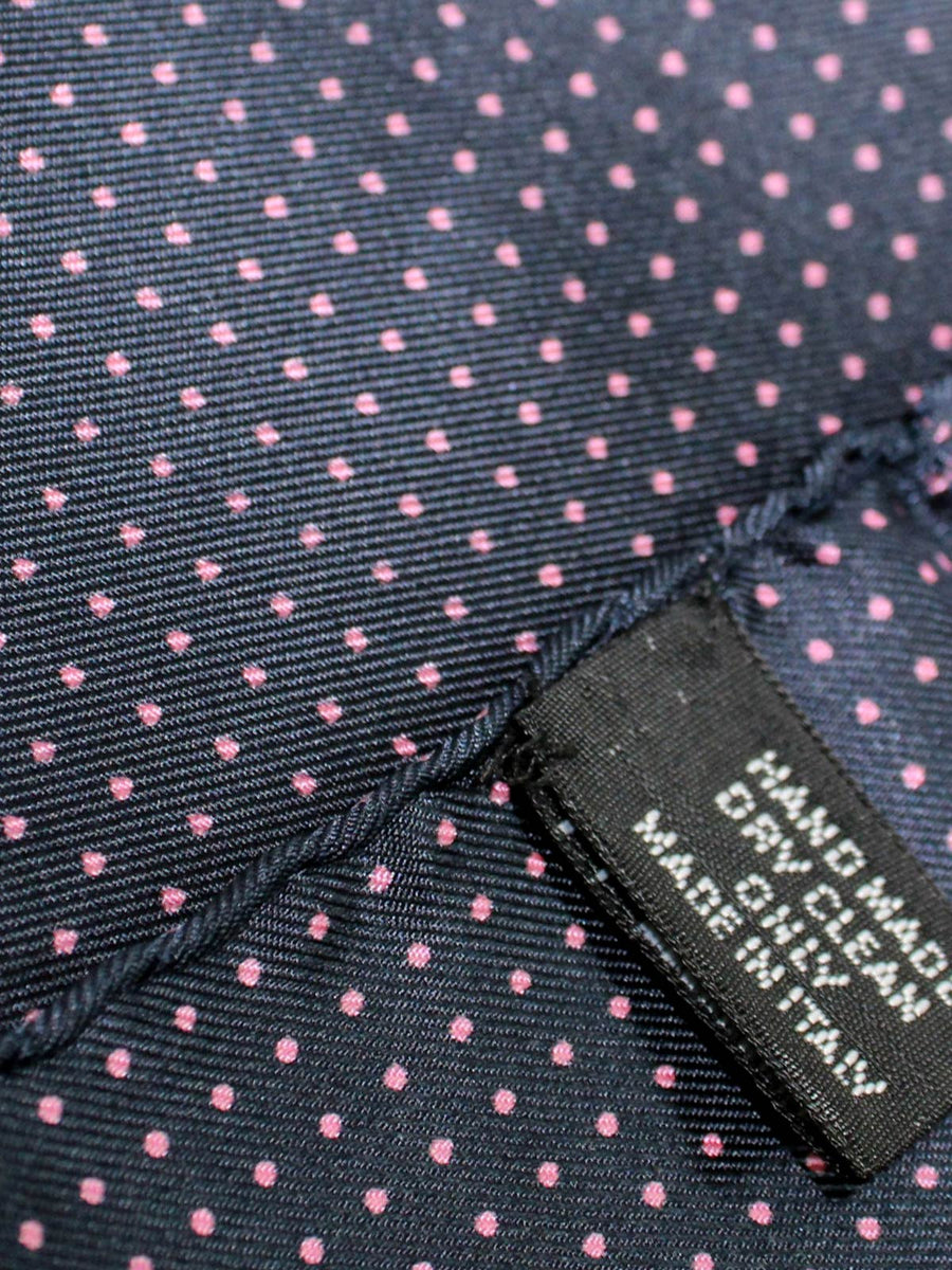 Vitaliano Pancaldi Silk Pocket Square Dark Midnight Blue Pink Dots