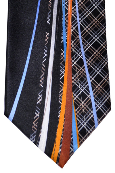Vitaliano Pancaldi Tie Black Gray Brown Blue Stripes Made in Italy