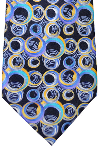 Vitaliano Pancaldi Tie Navy Silver Yellow Sky Blue Geometric SALE