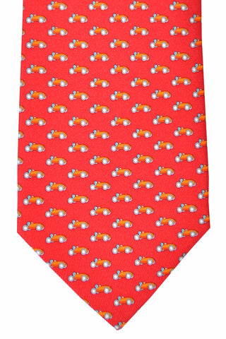 Salvatore Ferragamo Tie Red Orange Car