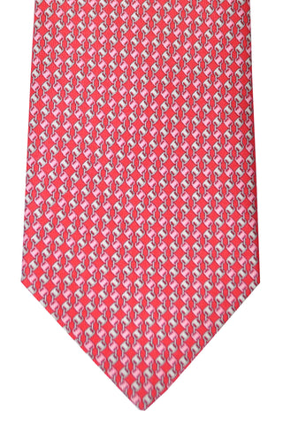 Salvatore Ferragamo Tie Oara Red Pink Geometric - Summer 2016