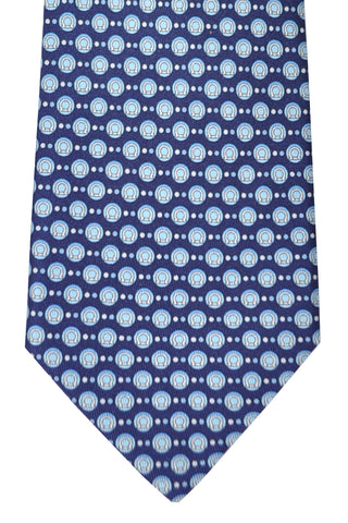 Salvatore Ferragamo Tie Navy Sky Blue Gancini Bubble - Spring / Summer 2016