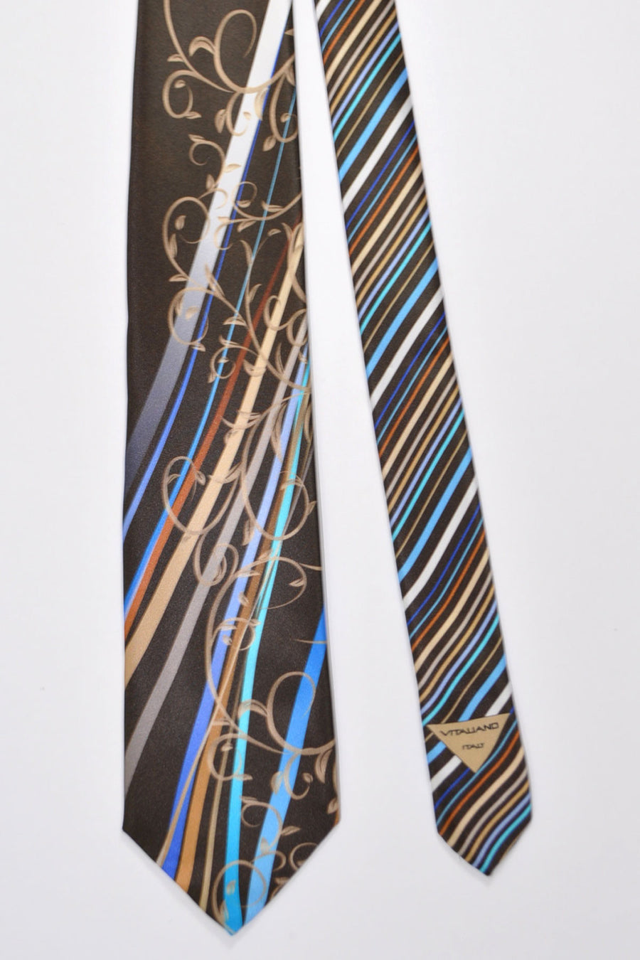 Vitaliano Pancaldi Tie Brown Aqua Gray Stripes