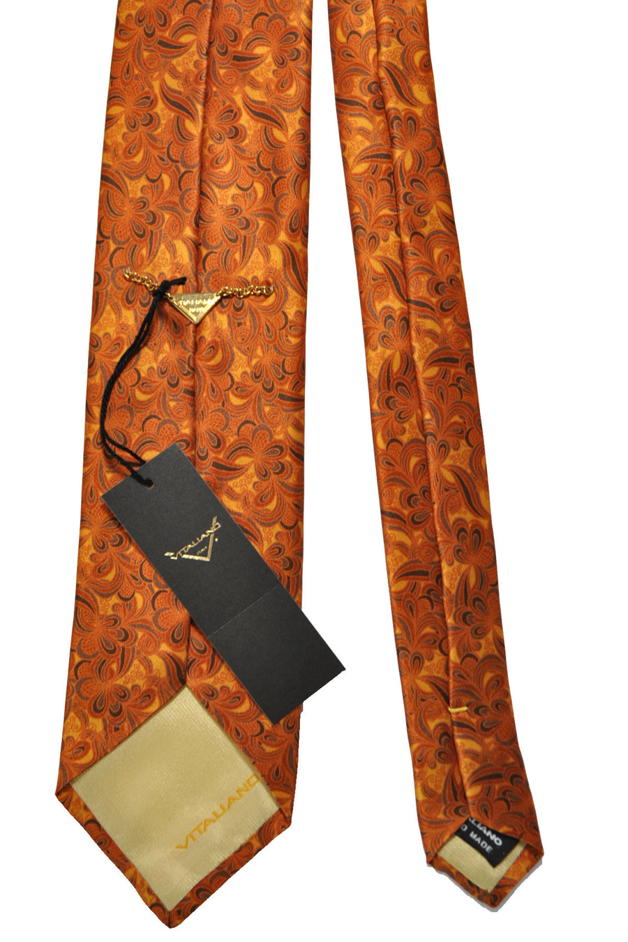 Vitaliano Pancaldi Tie Orange Brown Floral