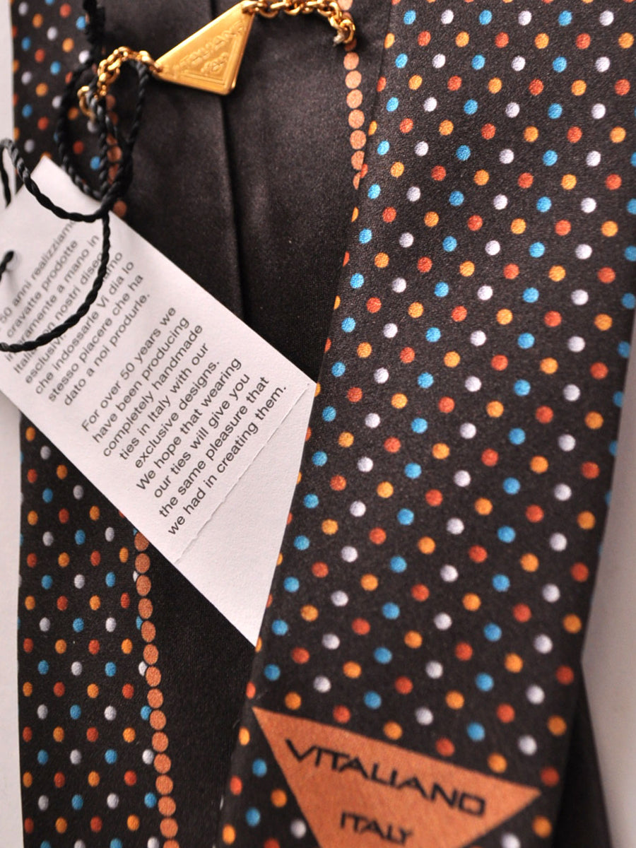 Vitaliano Pancaldi Tie Black Brown Lilac Dots Design