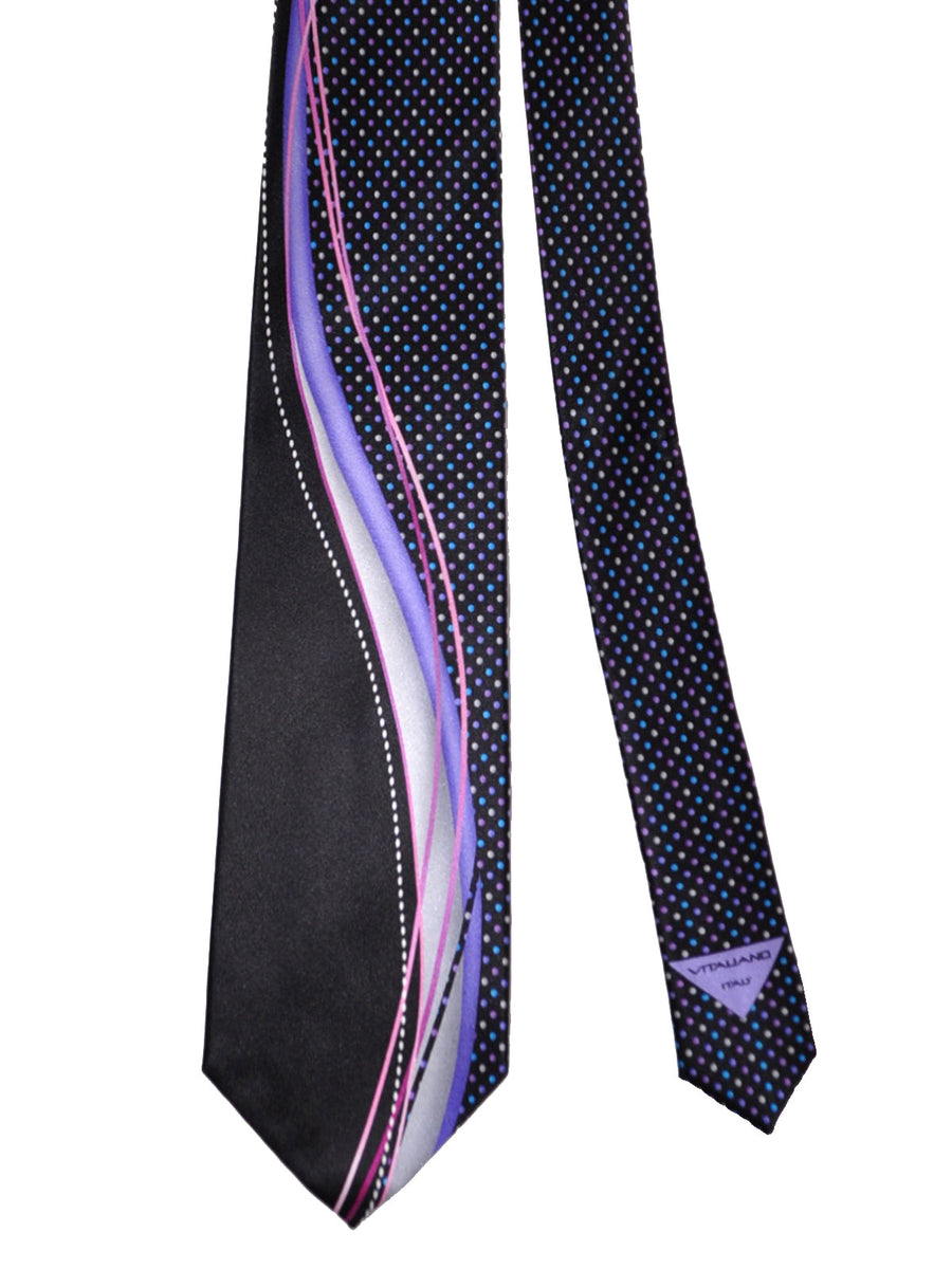 Vitaliano Pancaldi Tie Black Lilac Blue Dots Design