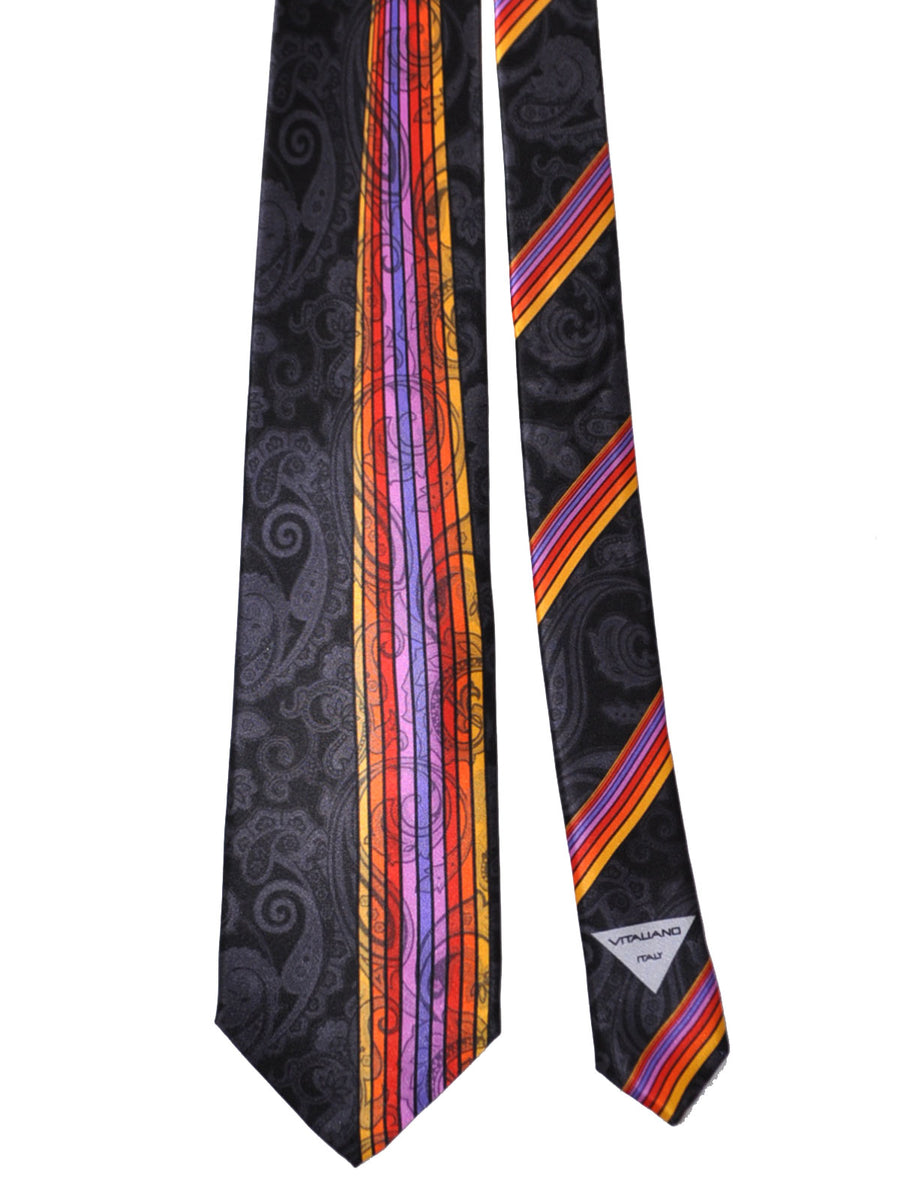 Vitaliano Pancaldi Tie Black Multicolored Paisley Stripes Design