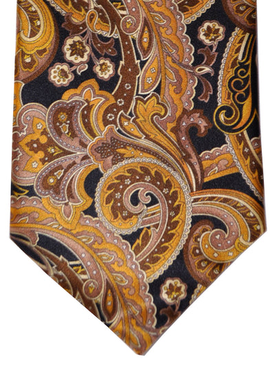 Vitaliano Pancaldi Tie Black Brown Gold Paisley