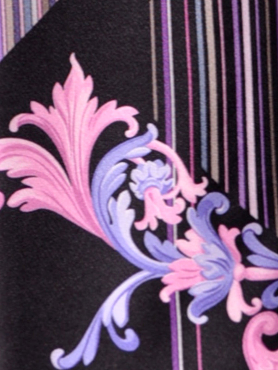 Vitaliano Pancaldi Tie Black Purple Pink Design