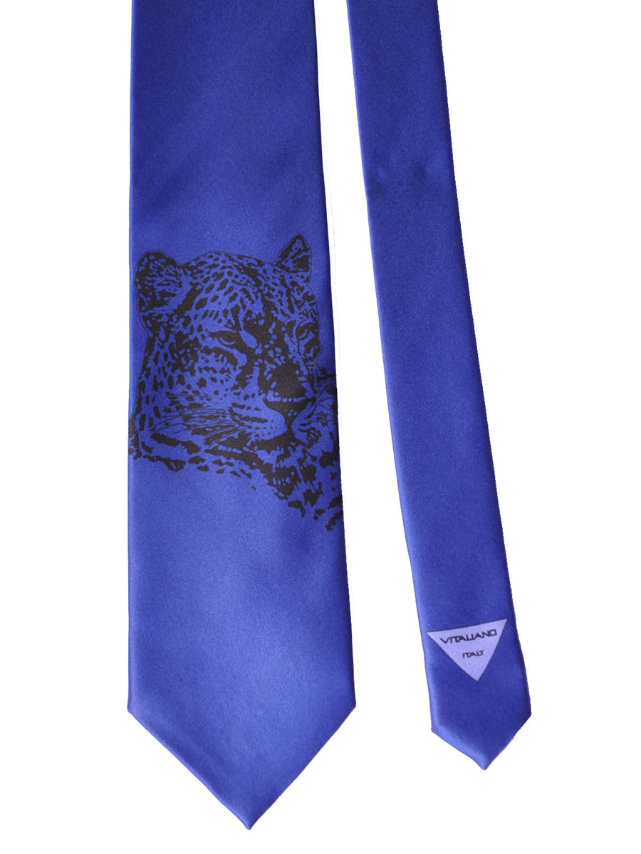 Vitaliano Pancaldi Tie Purple Leopard Design