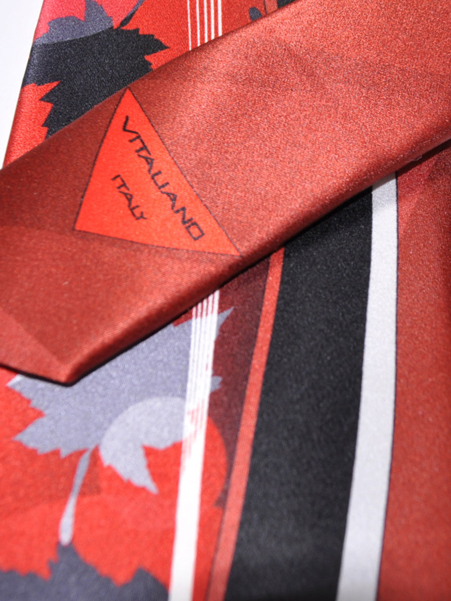 Vitaliano Pancaldi Tie Rust Orange Gray Leaves Design