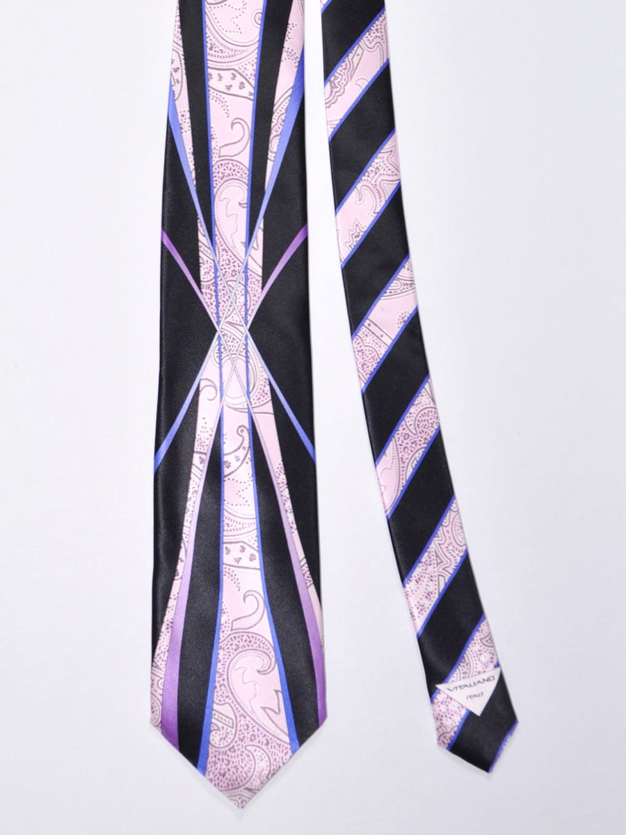 Vitaliano Pancaldi Tie Lilac Purple Paisley Stripes Design