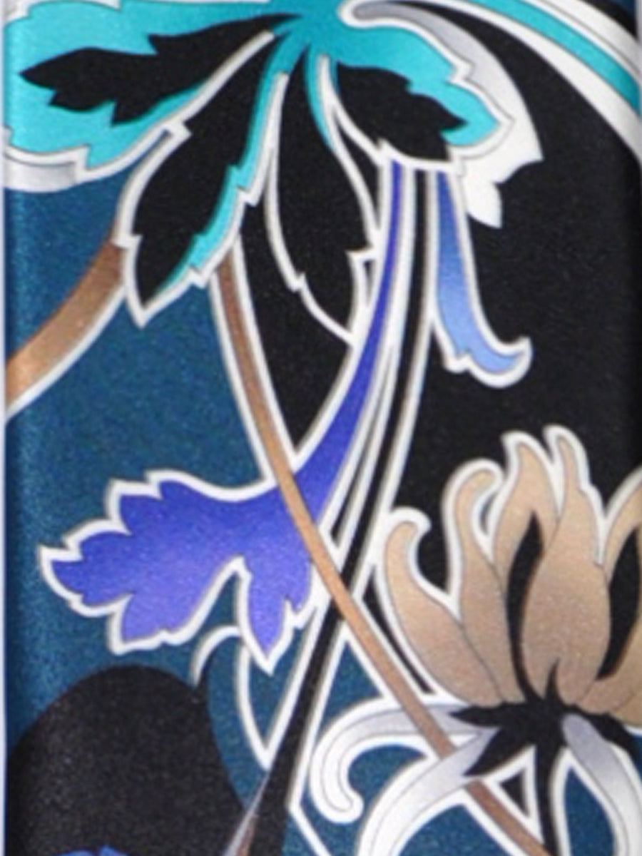 Vitaliano Pancaldi Tie Black Teal Cream Floral Design