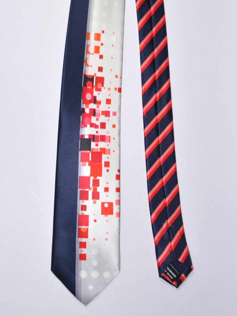 Vitaliano Pancaldi Tie Black Silver Orange Geometric Design