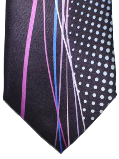 Vitaliano Pancaldi Tie Dark Purple Pink Blue Swirl Design
