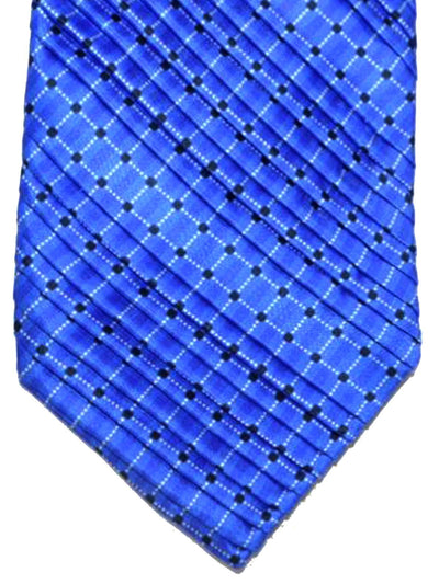 Vitaliano Pancaldi PLEATED SILK Tie Royal Blue Geometric Stripes
