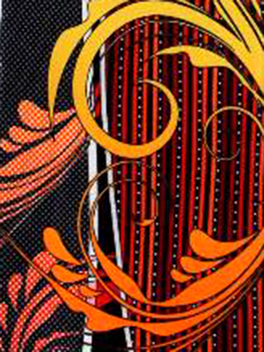 Vitaliano Pancaldi Tie Black Orange Maroon Swirl