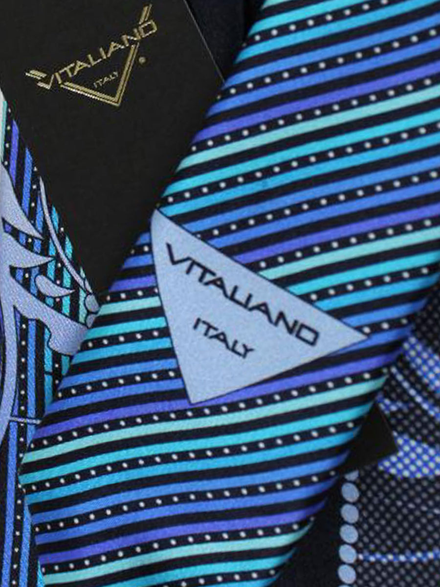 Vitaliano Pancaldi Tie Navy Blue Purple Swirl Stripes