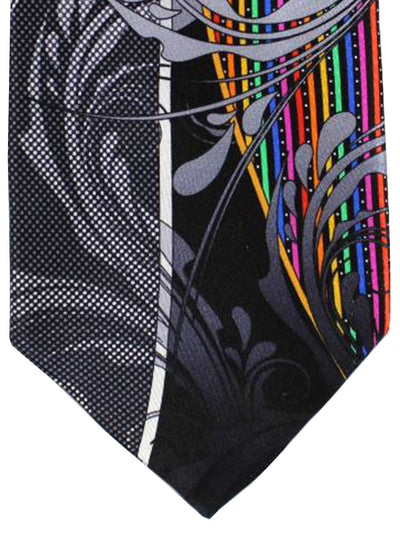 Vitaliano Pancaldi Tie Black Gray Multicolored Swirl Stripes