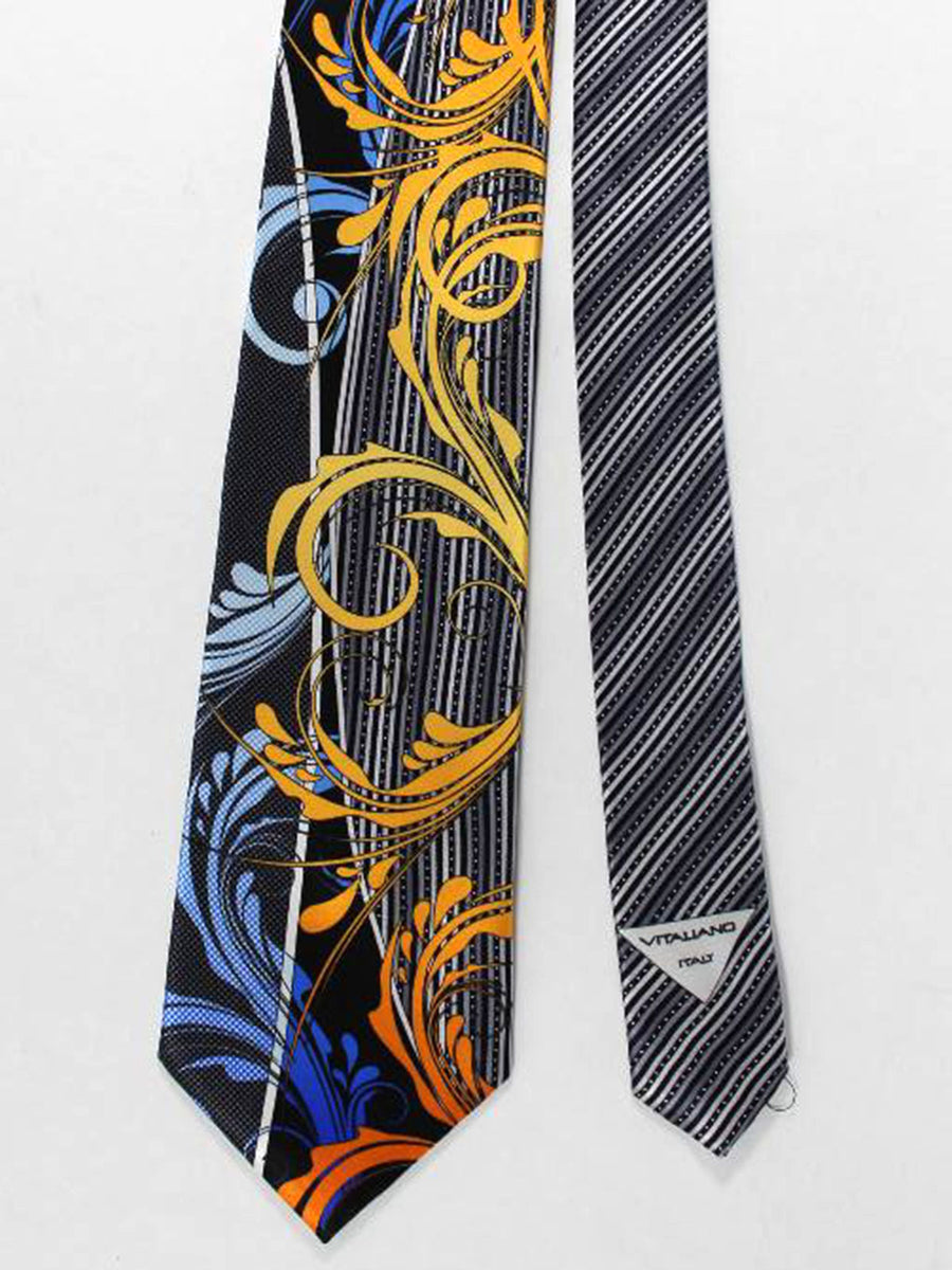 Vitaliano Pancaldi Tie Black Orange Gold Blue Ornamental Stripes