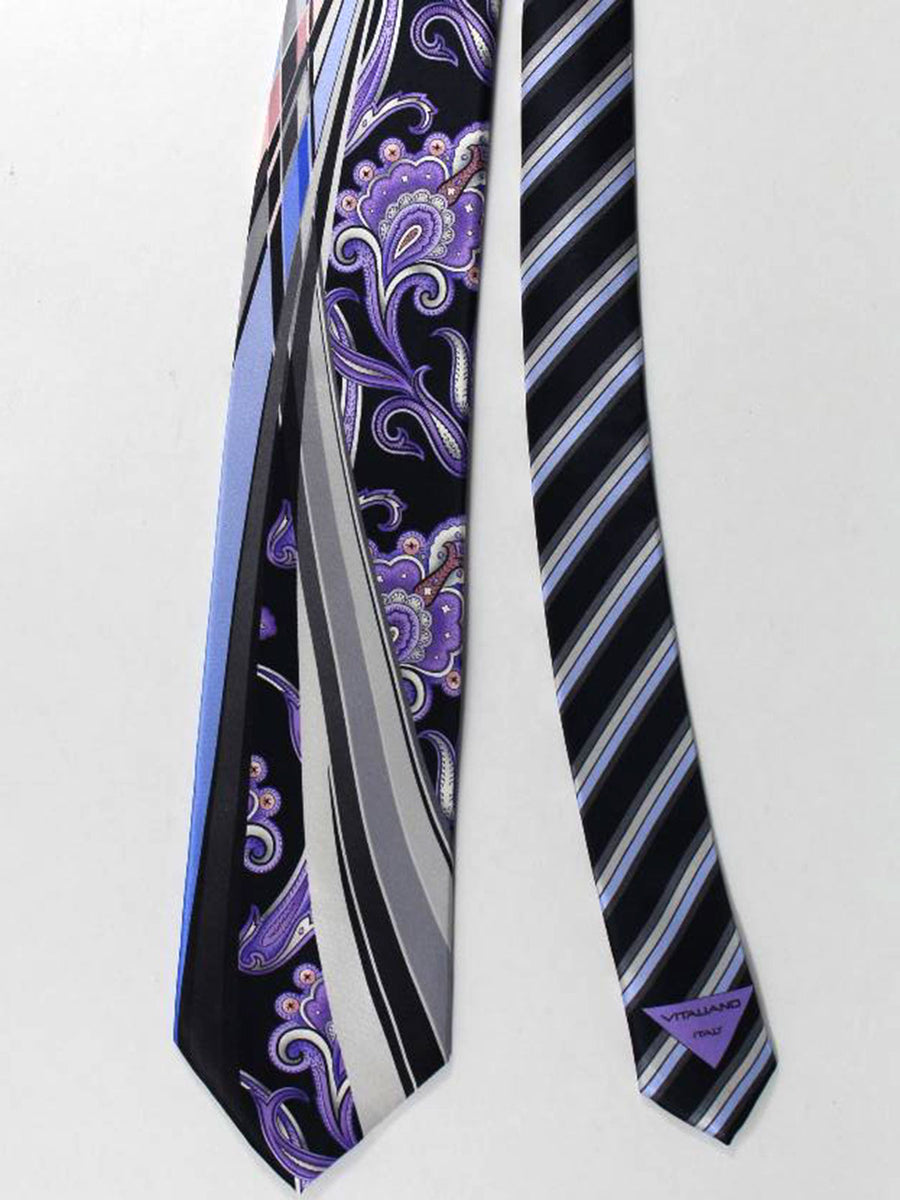 Vitaliano Pancaldi Tie Black Purple Silver Ornamental Floral