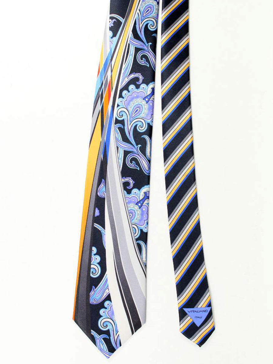 Vitaliano Pancaldi Tie Black Grey Blue Purple Ornamental Floral