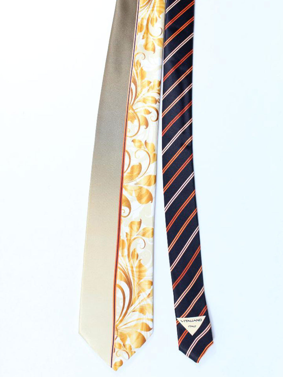 Vitaliano Pancaldi Tie Black Cream Gold Floral