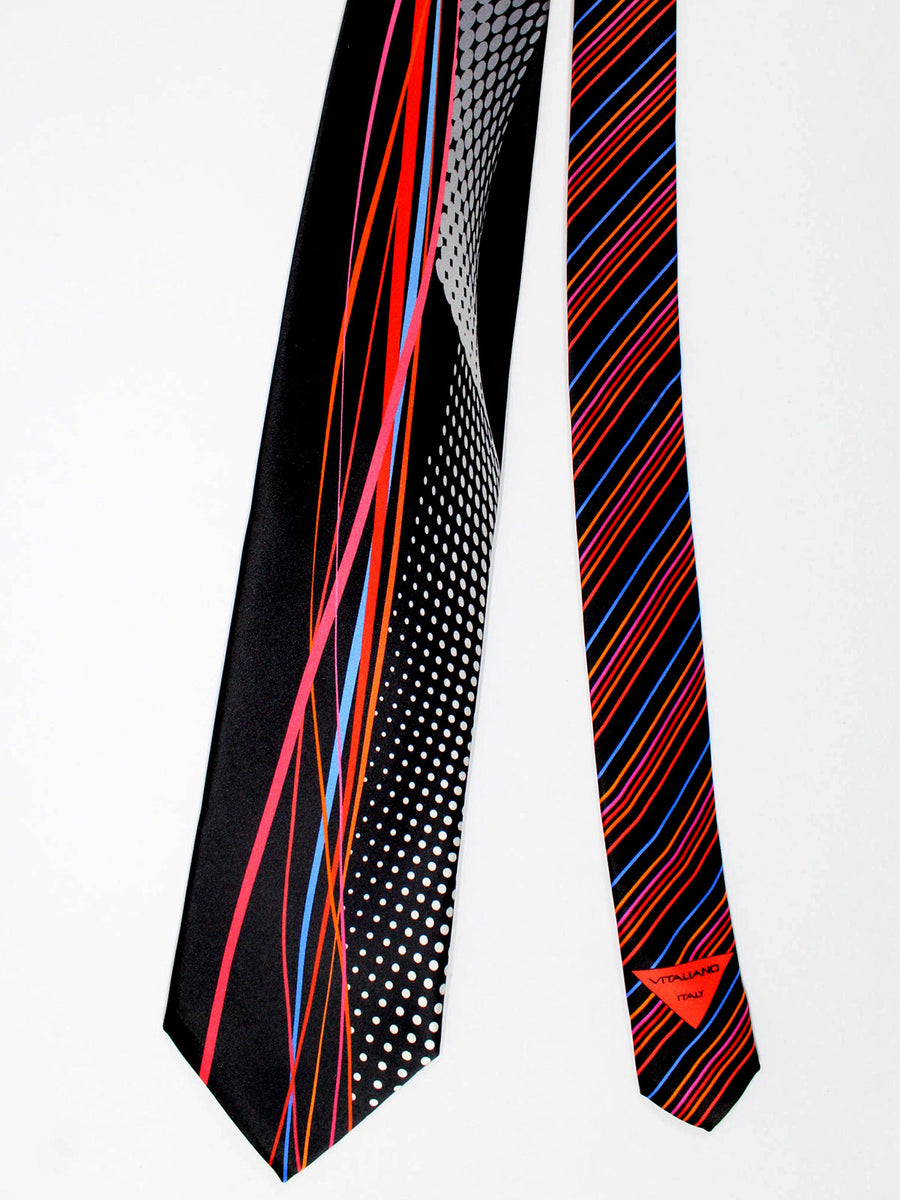 Vitaliano Pancaldi Tie Black Red Blue Design