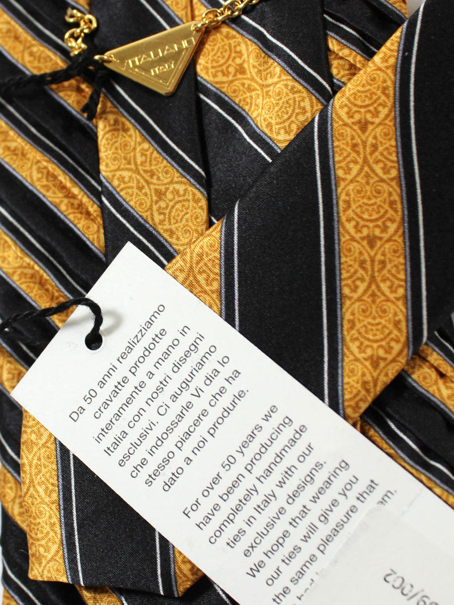 Vitaliano Pancaldi PLEATED SILK Tie Black Mustard Silver Stripes Hand Made In Italy