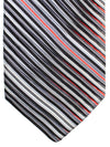 Vitaliano Pancaldi PLEATED SILK Tie Gray Black Red Stripes Hand Made In Italy