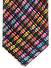 Copy of Vitaliano Pancaldi PLEATED SILK Tie Black Multicolored Geometric Hand Made In Italy
