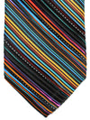 Vitaliano Pancaldi PLEATED SILK Tie Black Multicolored Stripes Hand Made In Italy
