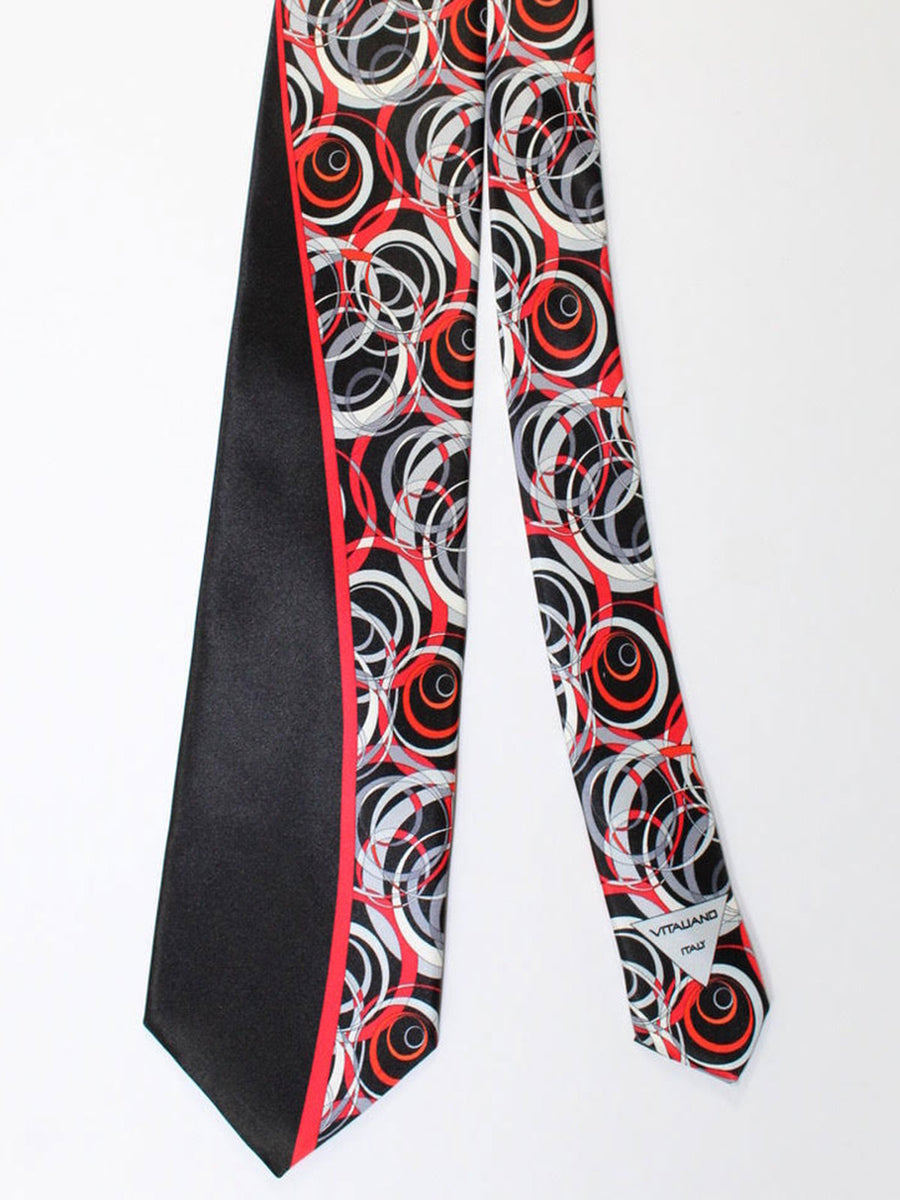 Vitaliano Pancaldi Tie Black Gray Red Geometric Design
